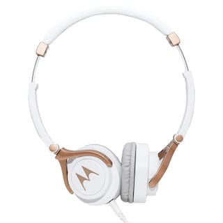 Motorola MOTOROLA PULSE 3 WHITE On-ear Bluetooth Headsets ( White & Gold )