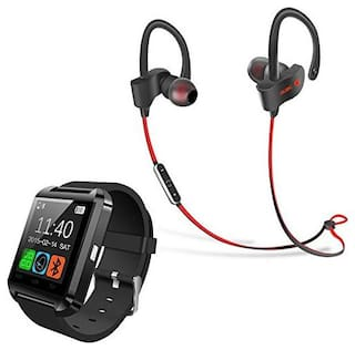 My Style U8 Smart Watch with QC-10 Bluetooth 4.1 Wireless Stereo Sport Headphones, Sweatproof With Standby/Music/Talking With Volume Control Compatible With All Smartphones