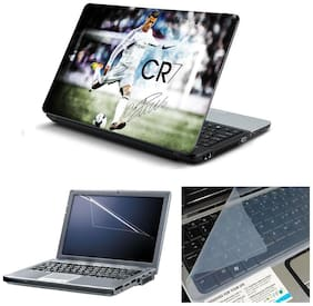 Namo Arts 3in1 Combo - Laptop Skins 15.6 inch with ,Laptop Screen Protector and Laptop KeyGuard for ALL DELL,APPLE,LENOVO,ACER,HP LAPTOP  - Notebook LISMU1019 Cristiano Ronaldo Real Madrid