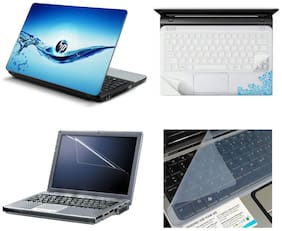 Namo Arts 4in1 Laptop Accessories Combo - Laptop Skins 15.6 inch Stickers with Laptop TrackPad Skin , Laptop Screen Protector and Laptop KeyGuard for All Laptop - Notebook  PTMHQ1005 Water HP