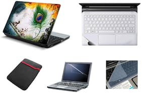 Namo Arts 5IN1 Laptop Accessories Combo-Laptop Skins 15.6 inch Stickers with,Laptop TrackPad Skin,Laptop Screen Protector and Laptop for All Laptop-Notebook  HQ10064 krishna eyes feather oil painting
