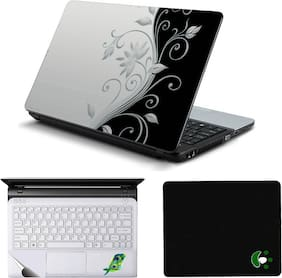 Namo Arts Black N White Floral Laptop Skin Sticker, Mouse Pad and Palmrest Skin For 15.6 Inch Laptop