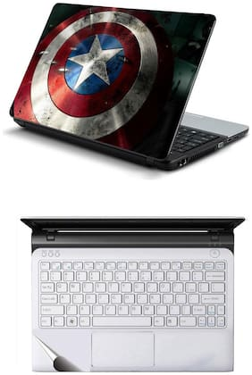 Namo Arts Combo of Laptop Skins 15.6 inch Stickers with Laptop TrackPad Skin for All Laptop - Notebook  PTMHQ10082 shield of captain america