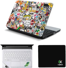 Namo Arts Laptop Accessories Combo Sticker Bomb Laptop Skin Stickers  Mouse Pad and Palmrest Skin for  HP-Dell-Lenovo-Acer-Asus Laptops || Notebooks