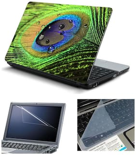 Namo Arts Laptop Skins with Laptop Screen Protector and Laptop KeyGuard for All Laptop - Notebook  PTMHQ110011034 Abstract Peacock Feather