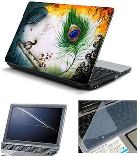 Namo Arts Laptop Skins with Laptop Screen Protector and Laptop KeyGuard for All Laptop - Notebook  PTMHQ110011064 krishna eyes feather oil painting
