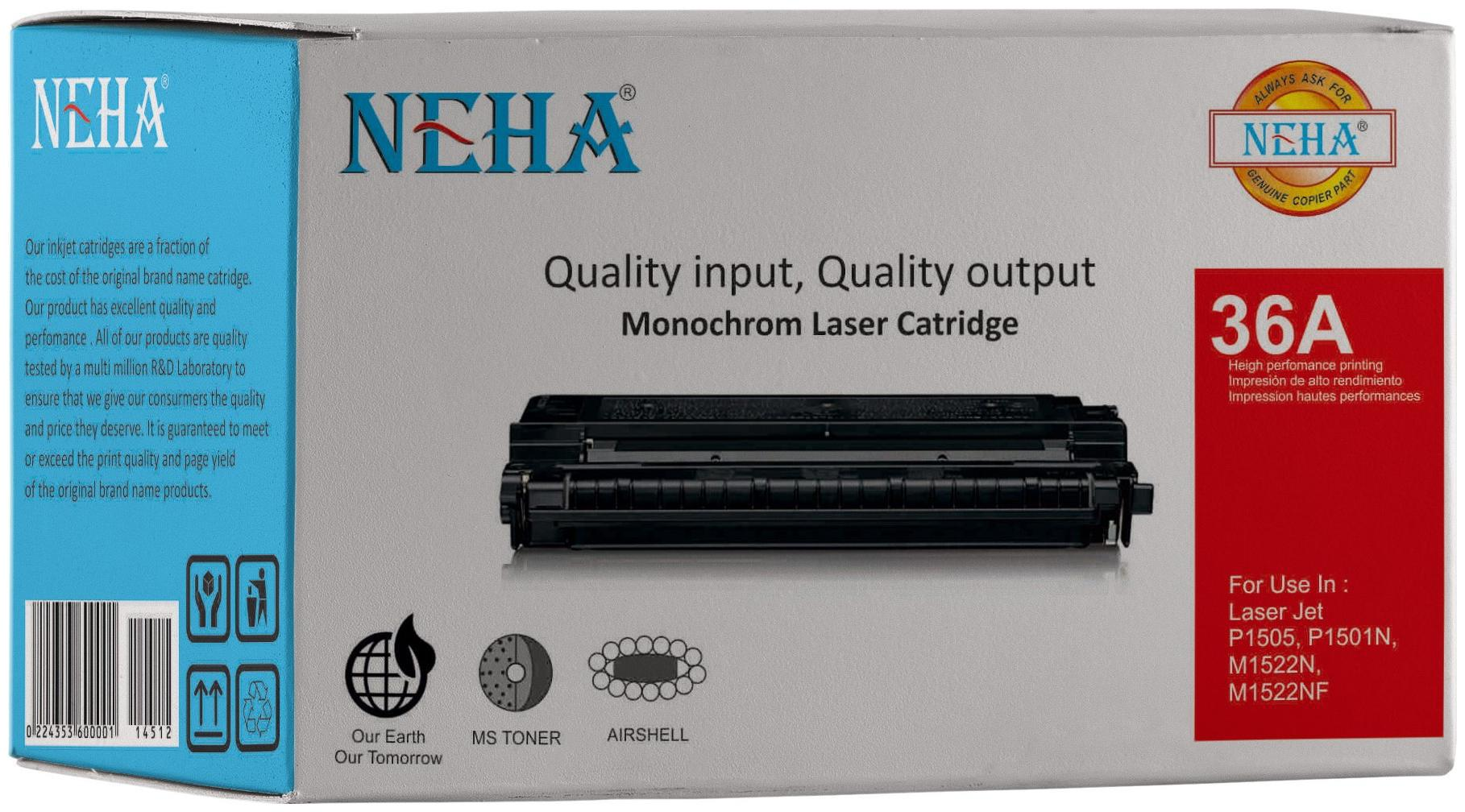 Neha 36A Compatible Laser Toner Cartridge for HP Laserjet   P1505, M1120 and M1522 MFP