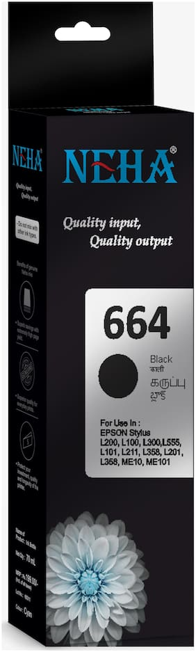 Neha 664 BLACK SINGLE COLOR INK  FOR EPSON L200,L100,L300,L555,L101,L211,L358,L201,ME10,ME101
