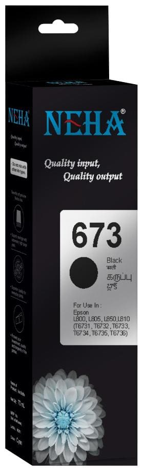 Neha 673 BLACK SINGLE COLOR INK FOR EPSON L800,L805,L850,L810