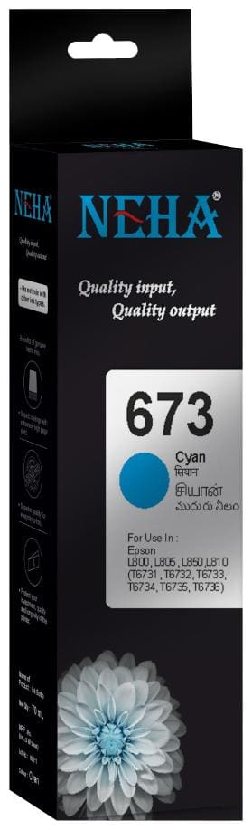 Neha 673 CYAN SINGLE COLOR INK FOR EPSON L800,L805,L850,L810
