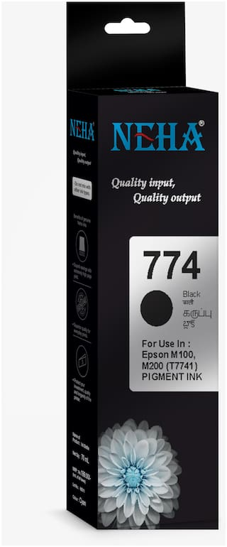 Neha 774 BLACK SINGLE COLOR INK FOR USE IN EPSON M100,M105,M200,M205,L605,L655