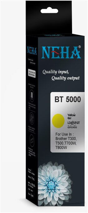 Neha BT5000 YELLOW SINGLE COLOR INK FOR BROTHER DCP-T300,T500W,T700W,MFC-T800W