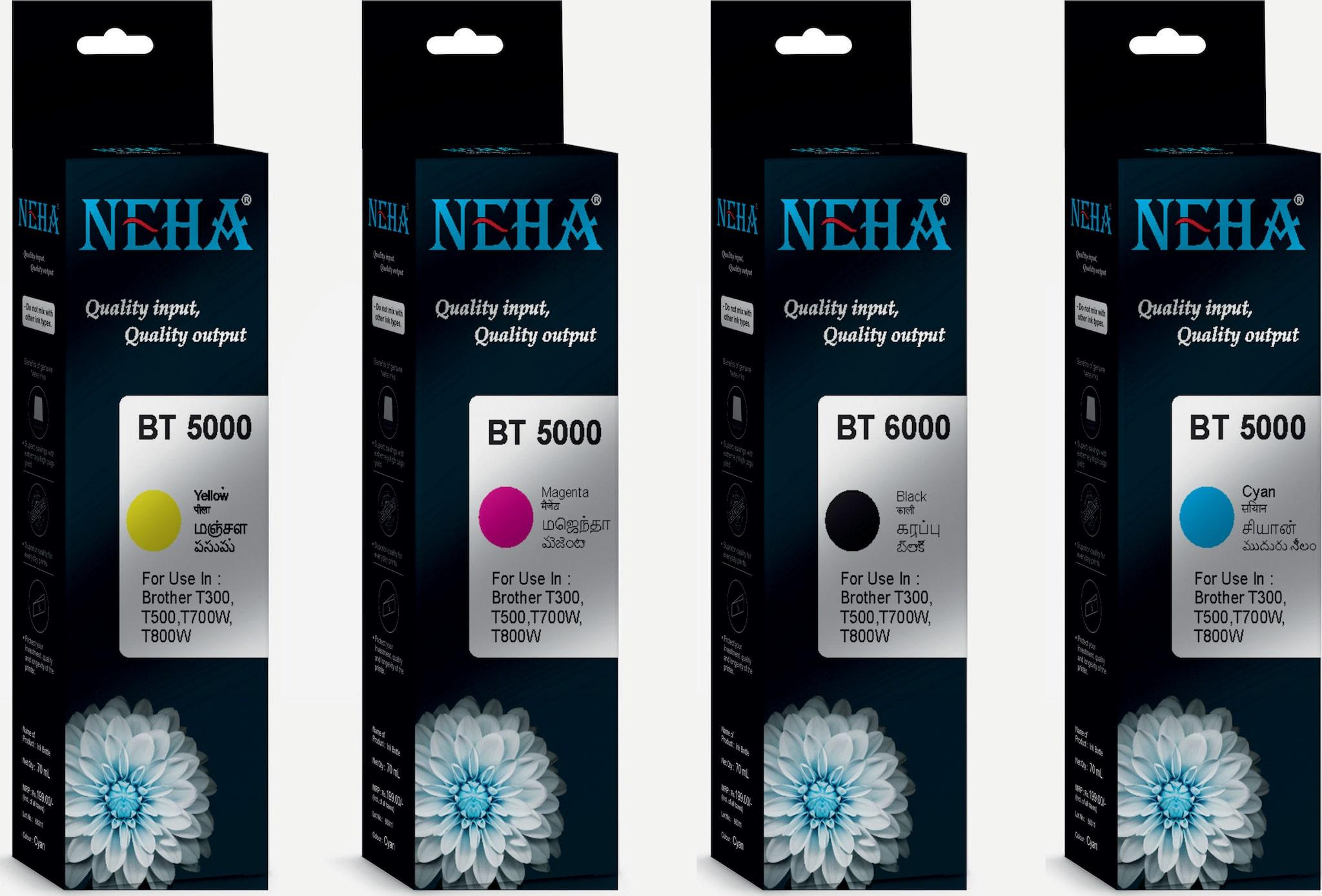Neha BT6000/5000 INK PACK OF 4 FOR BROTHER DCP T300,T500W,T700W,MFC T800W by Global Copier