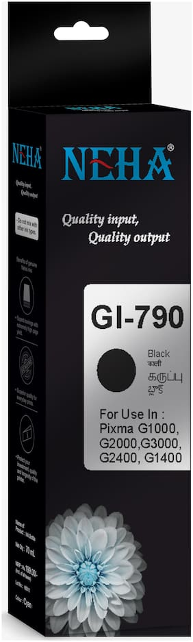Neha GI790 BLACK SINGLE COLOR INK FOR CANON PIXMA G1000,G2000,G3000,G2400,G1400