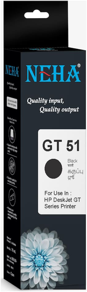 Neha GT51 BLACK SINGLE COLOR INK FOR HP INK TANK  419,415,319,315,5820,5821 PRINTERS