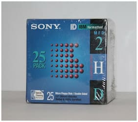 """New SEALED 25 Pack Sony 25MFD-2HD IBM Formatted 3.5"""" Double Sided Floppy Disks"""