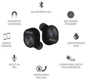 Noise Shots Truly Wireless Bluetooth Earbuds/Earphones with Charging Case - Black