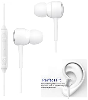 OPPO A5 Compatible Ergonomic Design White Nylon Wire  Earphone/Earphones Handsfree/Headphone High Bass Super Sound With Calling Microphone & 2 Pair Cusion By MATT PIE.