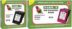 Parrot ink cartridge refill for HP 46 black and HP 46 color, Combo