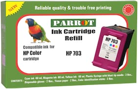 Parrot ink cartridge refill for HP 703 color ink cartridge