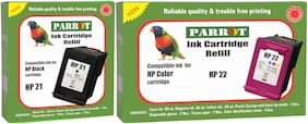 Parrot ink cartridge refill for HP 21 black and HP 22 color, Combo