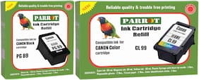 Parrot ink cartridge refill for Canon Pixma PG 89 black and CL 99 color, Combo