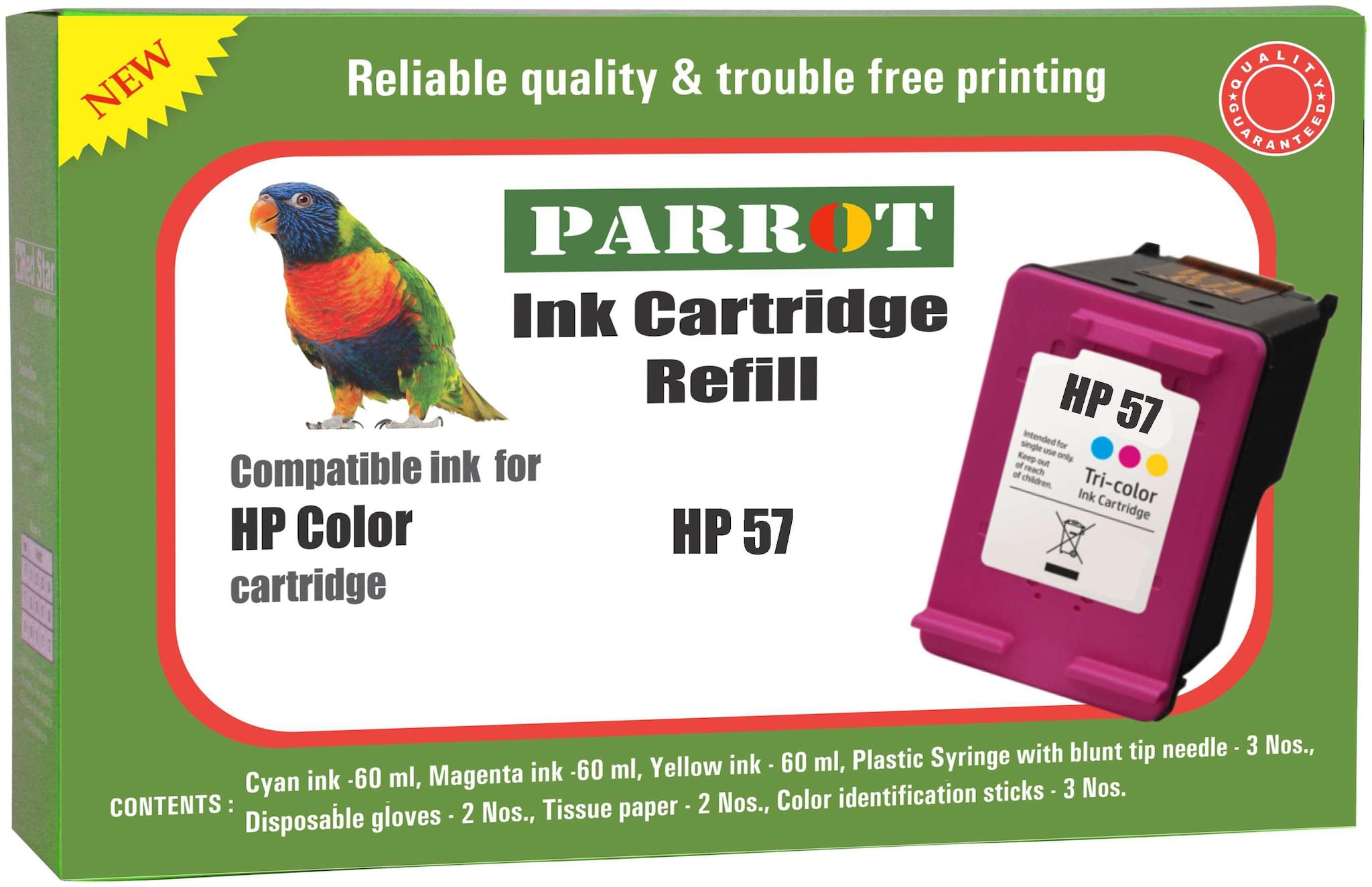 Parrot ink cartridge refill for HP 57  color ink cartridge