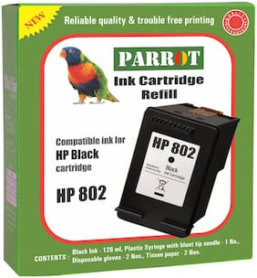 Parrot ink cartridge refill for HP 802  black ink cartridge
