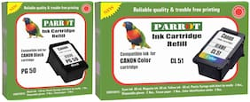 Parrot ink cartridge refill for Canon Pixma PG 50 black and CL 51 color, Combo