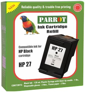 Parrot ink cartridge refill for HP 27  black ink cartridge