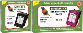 Parrot ink cartridge refill for HP 678 black and HP 678 color, Combo