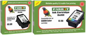 Parrot ink cartridge refill for Canon Pixma PG 88 black and CL 98 color, Combo