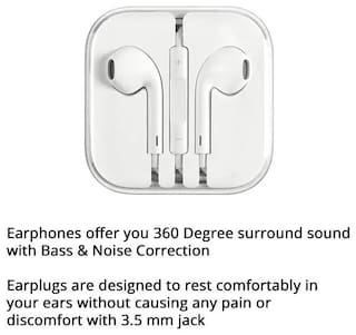 Pickadda High Quality Earphone for Apple and Android phone with Mic (White, In the Ear) 3.5 mm Jack
