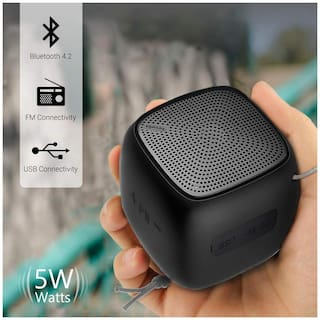 Portronics Bounce POR-939 Portable Bluetooth Speaker with FM & USB/Pendrive option - 5W (Black)