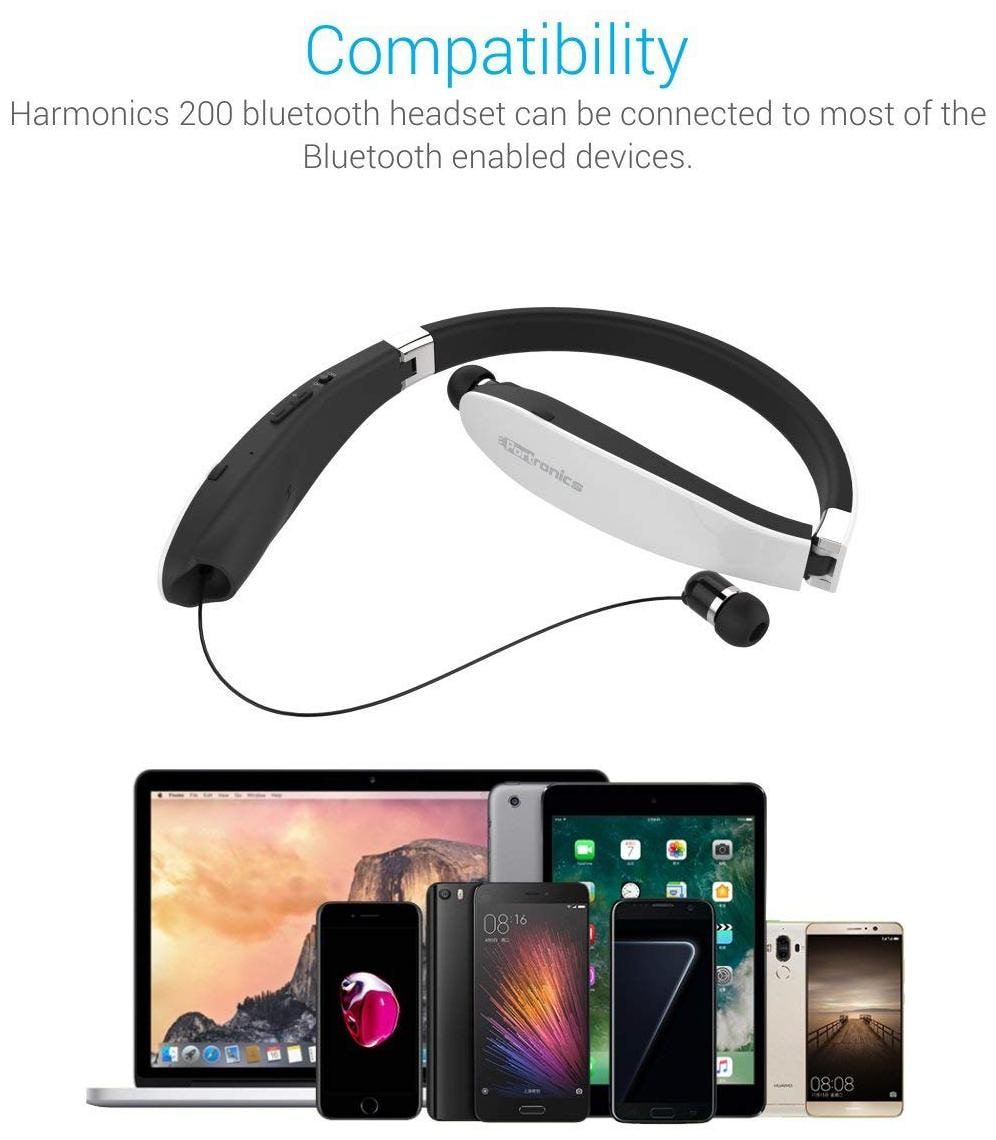 c5b5b8b29f8 Buy Portronics Harmonics 200 POR 930 Wireless Bluetooth Stereo Headset &  Neckband with retractable earbuds (White) Online at Low Prices in India ...