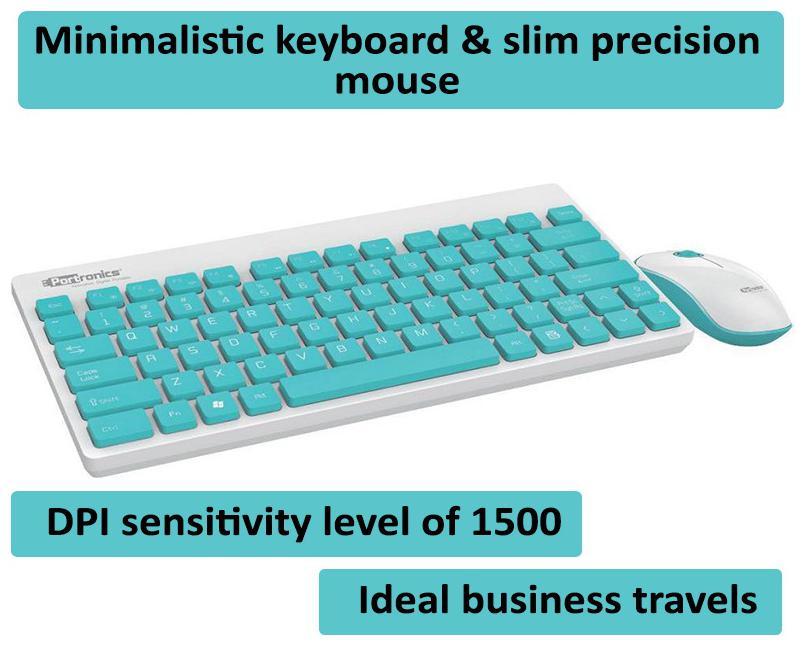 Portronics Por 373 Wireless Keyboard   Mouse Set   White   by Portronics Digital