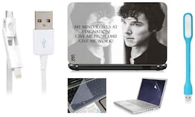 Print Shapes Sherlock Give Me Problems For 39.62 cm (15.6) Laptop Skin With Keyboard & Screen Protector, USB LED, Data Cable