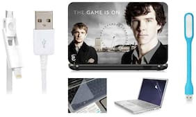 Print Shapes Sherlock The Game Is On For 39.62 cm (15.6) Laptop Skin With Keyboard & Screen Protector, USB LED, Data Cable
