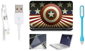 Print Shapes Captain America Logo For 39.62 cm (15.6) Laptop Skin With Keyboard & Screen Protector, USB LED, Data Cable
