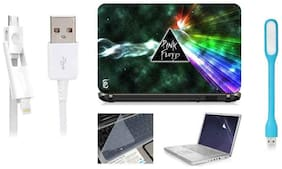 Print Shapes Combo Of Pink Floyd Dark For 39.62 cm (15.6) Laptop Skin With Keyboard & Screen Protector, USB LED, Data Cable