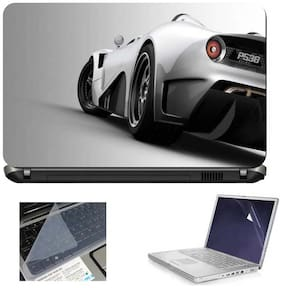 Print Shapes Silver Car Back 3 In 1 Print Shapes Laptop Skins With Screen Protector And Key Guard