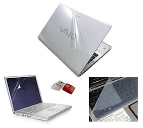 Print Shapes Laptop Skin For 15.6 Inch Laptop (White) With Screen Protector + Key Guard + Card Reader