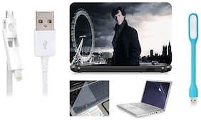 Print Shapes Combo Of Sherlock Holmes For 39.62 cm (15.6) Laptop Skin With Keyboard & Screen Protector, USB LED, Data Cable