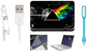 Print Shapes Pink Floyd Triangle Space Planet For 39.62 cm (15.6) Laptop Skin With Keyboard & Screen Protector, USB LED, Data Cable