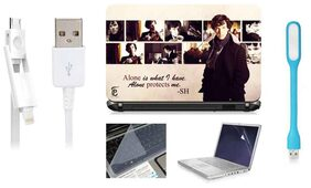 Print Shapes Sherlock Holmes Collage For 39.62 cm (15.6) Laptop Skin With Keyboard & Screen Protector, USB LED, Data Cable