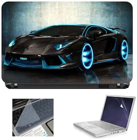 Print Shapes Tron Car 3 In 1 Laptop Skin With Screen Protector And Key Guard