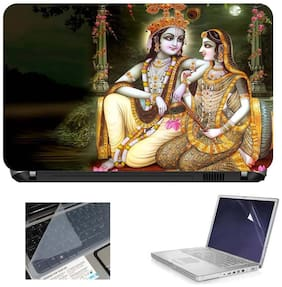 Print Shapes Radha Krishna 3 In 1 Laptop Skin With Screen Protector And Key Guard