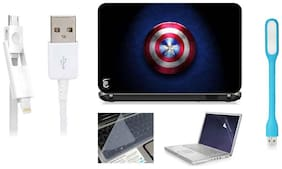 Print Shapes Captain America Logo 2 For 39.62 cm (15.6) Laptop Skin With Keyboard & Screen Protector, USB LED, Data Cable