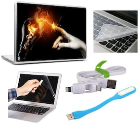 PRINT SHAPES Hand Touching The Light Laptop Skin For 39.62 cm (15.4) Laptops With Computer Accessories Combo