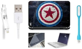 Print Shapes Combo Of Captain America For 39.62 cm (15.6) Laptop Skin With Keyboard & Screen Protector, USB LED, Data Cable